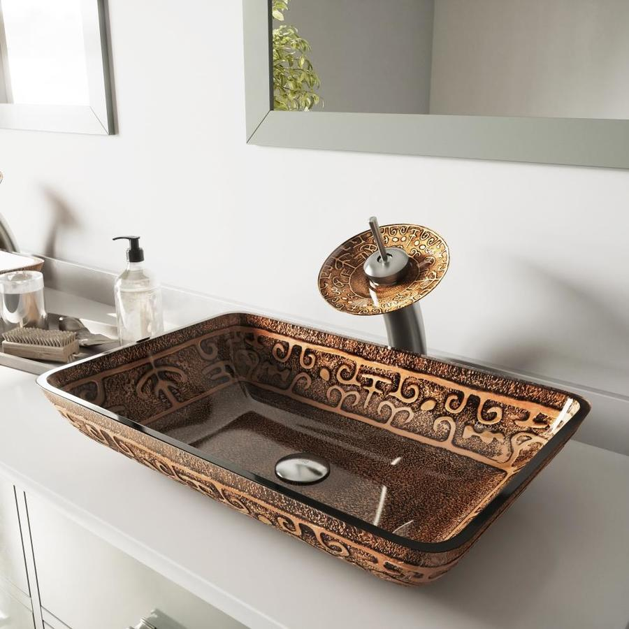 VIGO Vessel Bathroom Sets Brownish Red Amber Tempered Glass Vessel Rectangular Bathroom Sink with Faucet (Drain Included)