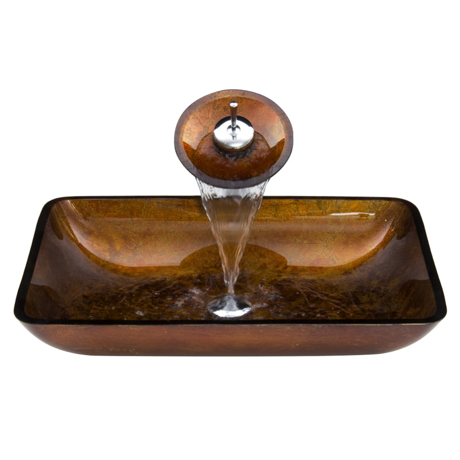 VIGO Russet Glass Vessel Bathroom Sink with Faucet (Drain Included)