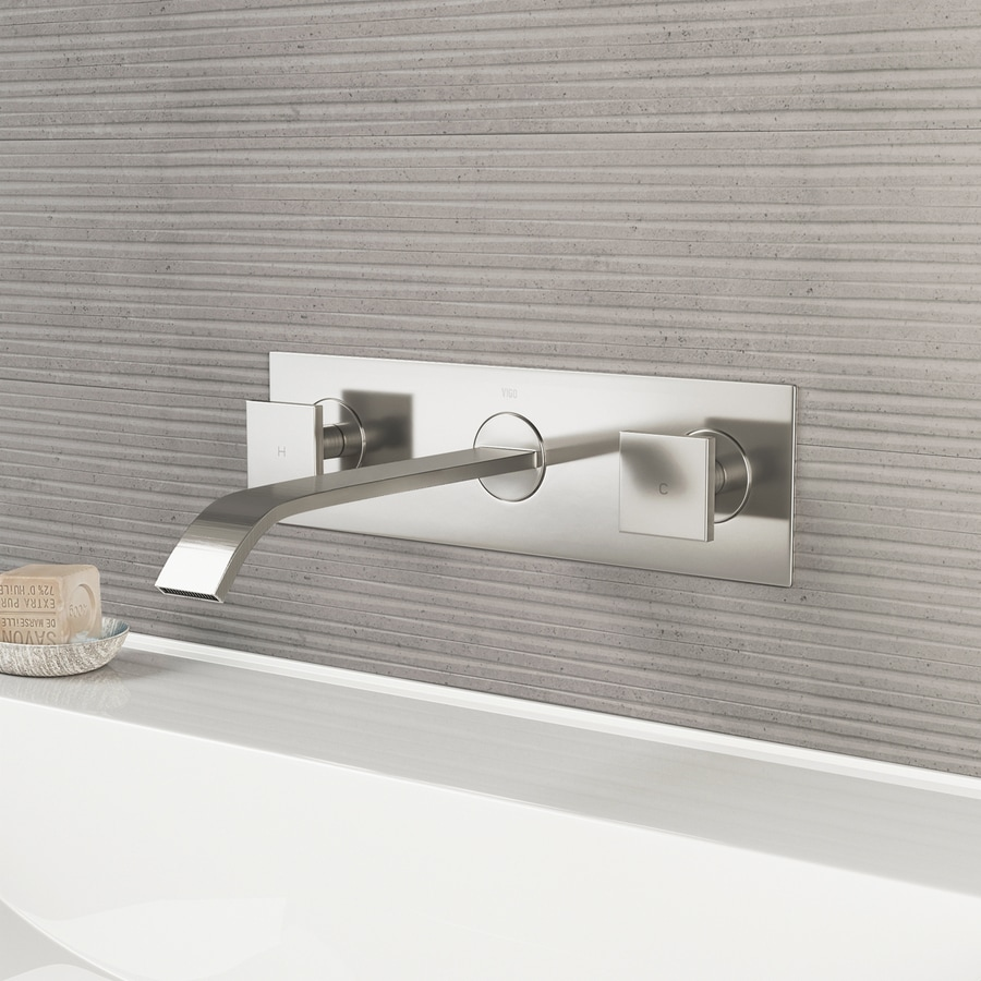VIGO Brushed Nickel 2-Handle 4-in Centerset WaterSense Bathroom Faucet