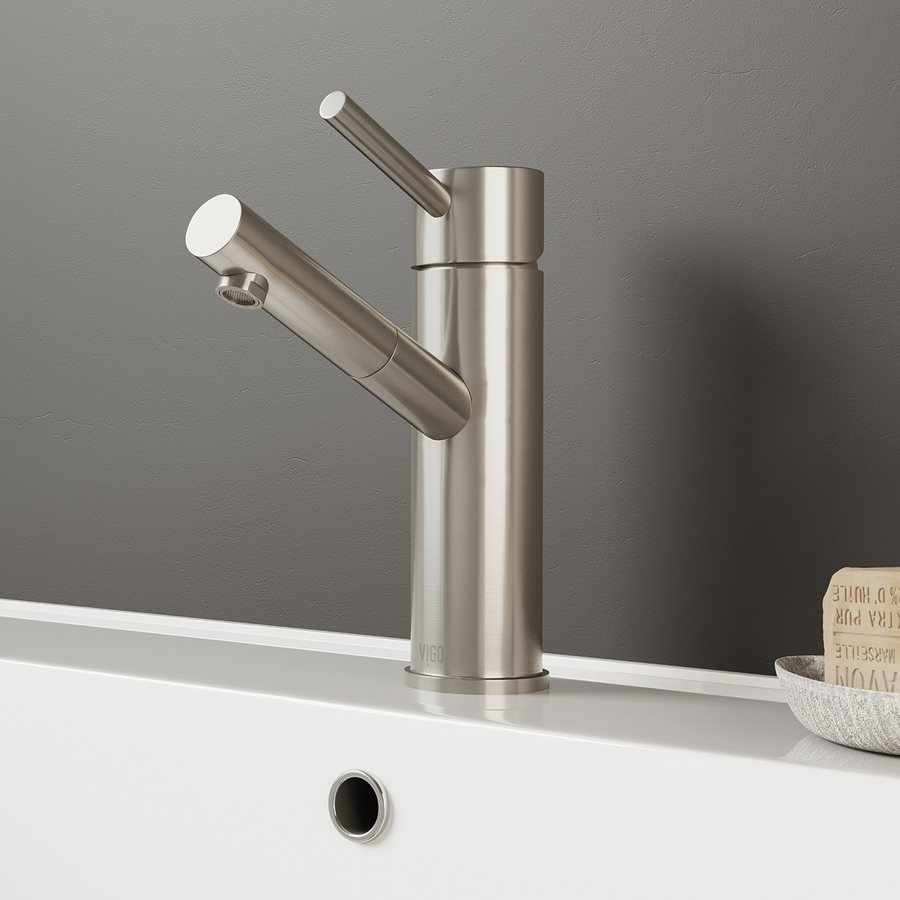 VIGO Noma Brushed Nickel 1-Handle Single Hole WaterSense Bathroom Faucet