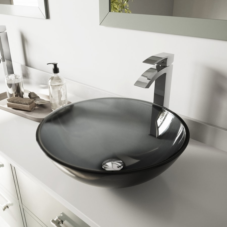 VIGO Sheer Black Glass Vessel Bathroom Sink with Faucet (Drain Included)