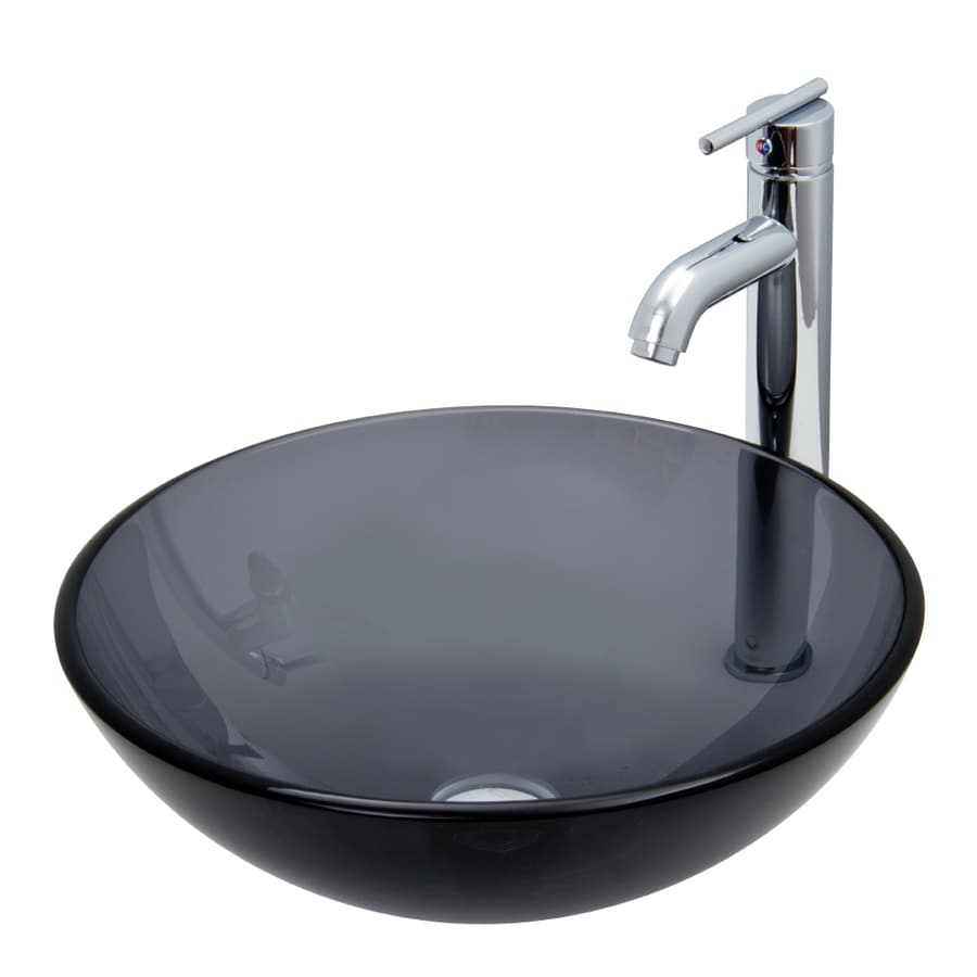 Shop vigo sheer black glass vessel bathroom sink with for Kitchen set vessels