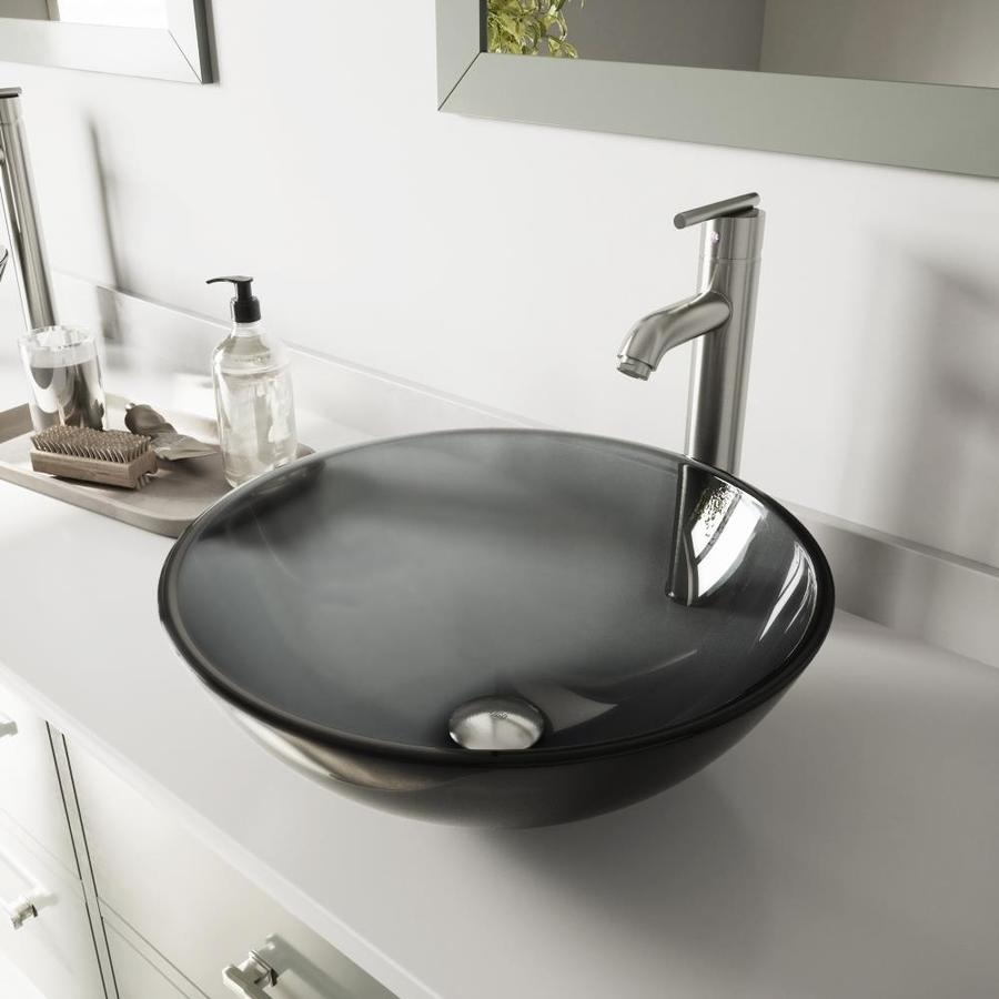 Vigo Glass Sink And Vessel Faucet Set Black Tempered Glass