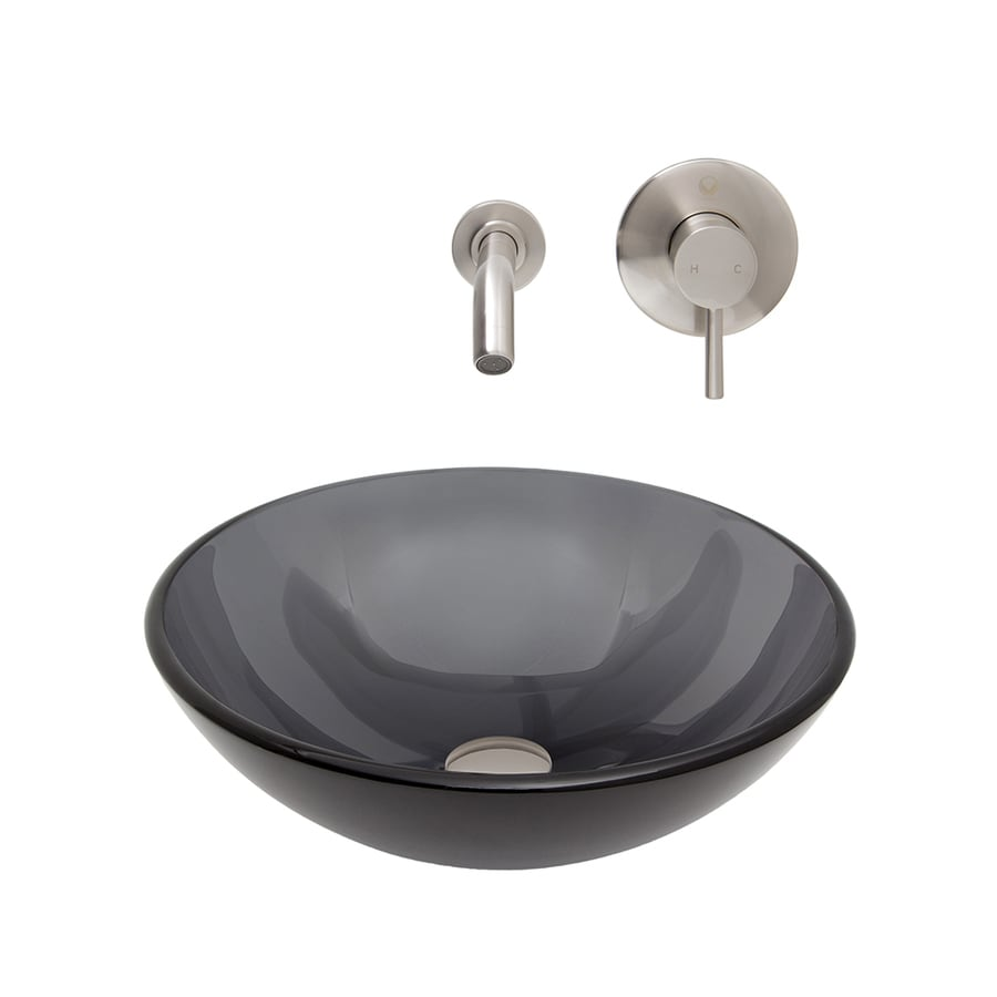 Shop vigo black and brushed nickel glass vessel bathroom for Black vessel bathroom sink