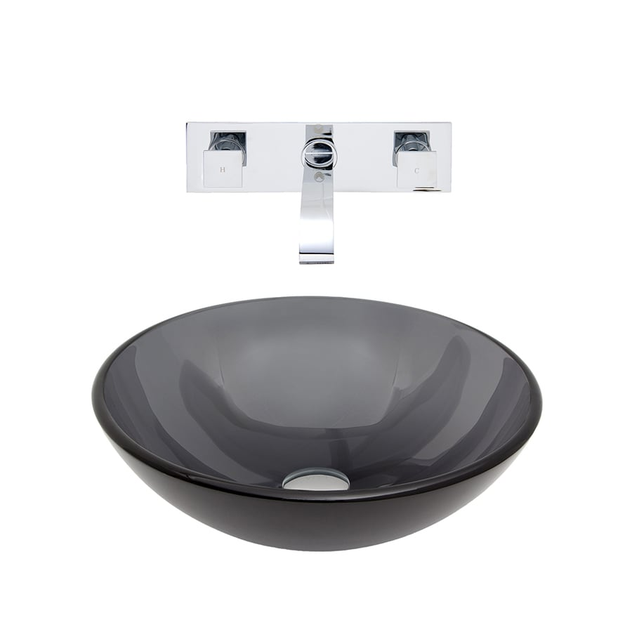 VIGO Black and Chrome Glass Vessel Bathroom Sink with Faucet (Drain Included)