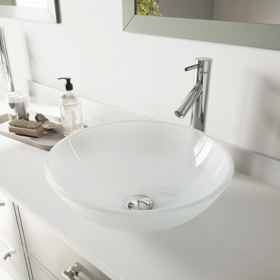 VIGO White Frost Glass Vessel Round Bathroom Sink with Faucet (Drain Included)