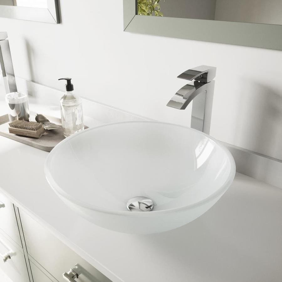 Shop vigo white frost glass vessel bathroom sink with for Plumbing bathroom sink