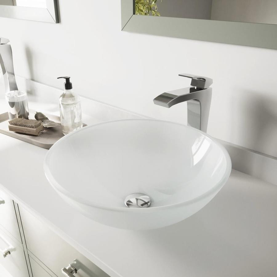 VIGO White Frost Glass Vessel Bathroom Sink with Faucet (Drain Included)