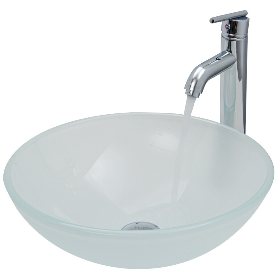 Shop vigo white frost glass vessel bathroom sink with for Kitchen set vessels