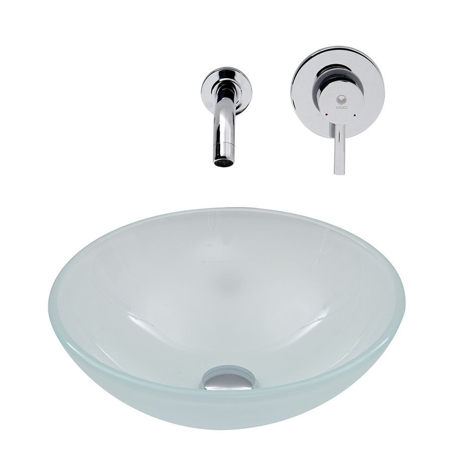 VIGO Vessel Bathroom Sets White Frosted Glass Vessel Round Bathroom Sink with Faucet (Drain Included)