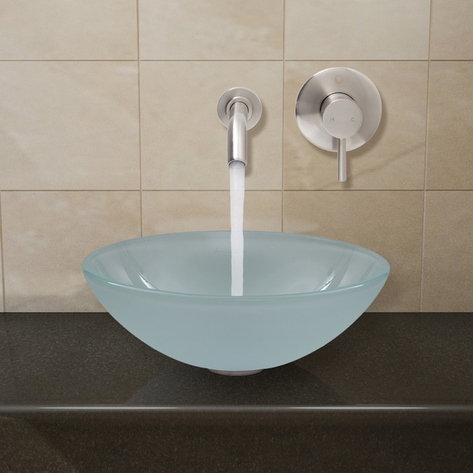 Vigo Vessel Sinks White Frost Glass Vessel Round Bathroom Sink With Faucet Drain Included 16 5 In X 16 5 In In The Bathroom Sinks Department At Lowes Com
