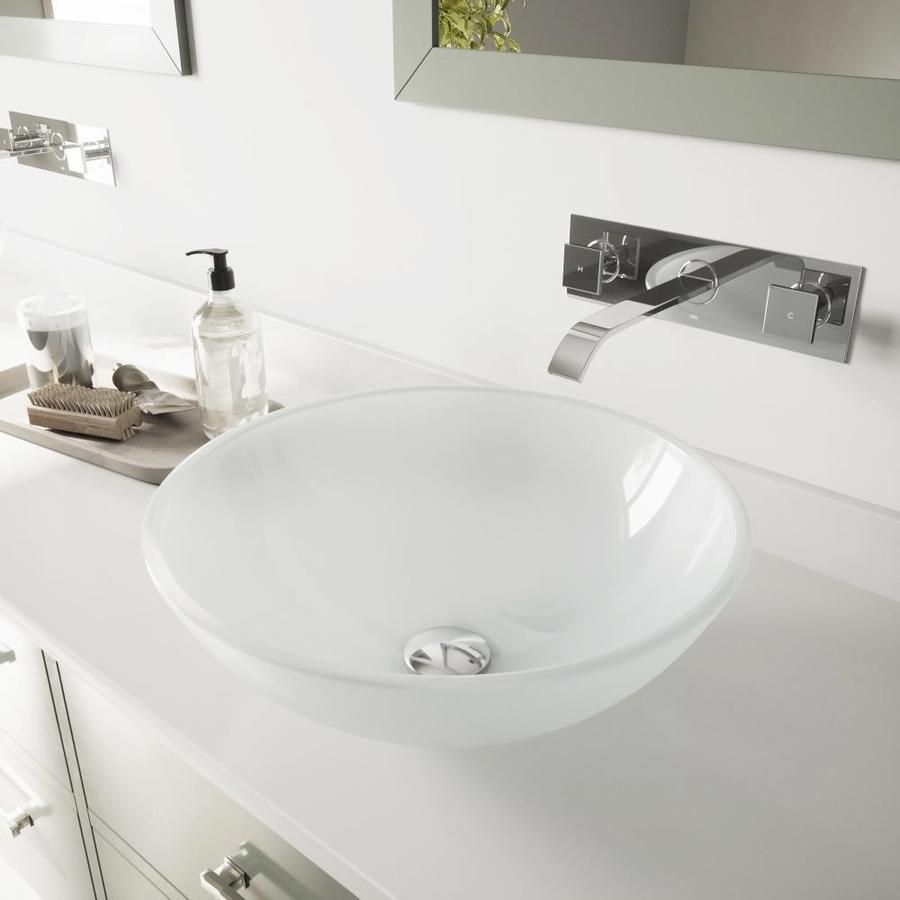 Shop vigo vessel bathroom sets white frosted glass vessel for Bath toilet and sink sets