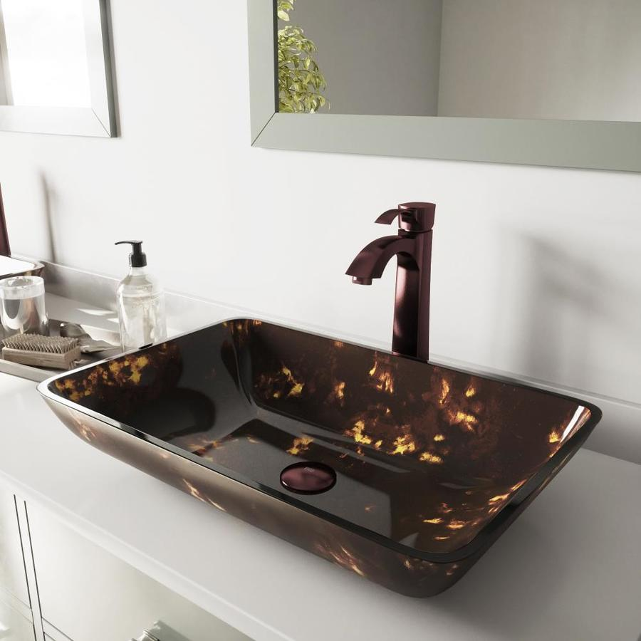 VIGO Brown and Gold Fusion Glass Vessel Bathroom Sink with Faucet (Drain Included)
