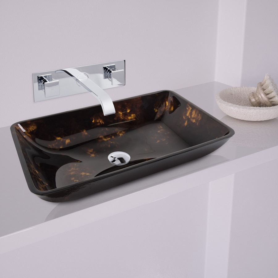Shop vigo vessel bathroom sets brown and gold tempered for Brown and gold bathroom sets