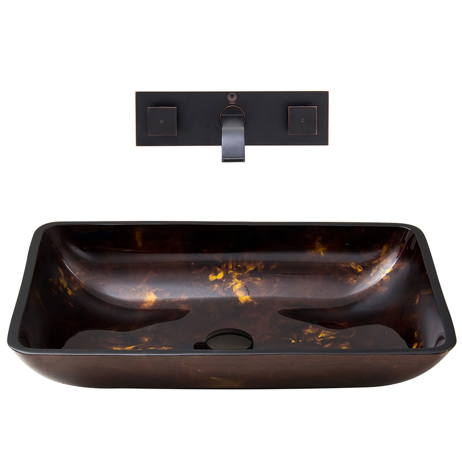 VIGO Vessel Bathroom Sets Brown and Gold Tempered Glass Vessel Rectangular Bathroom Sink with Faucet (Drain Included)