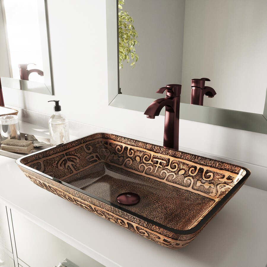 VIGO Golden Greek Glass Vessel Bathroom Sink with Faucet (Drain Included)