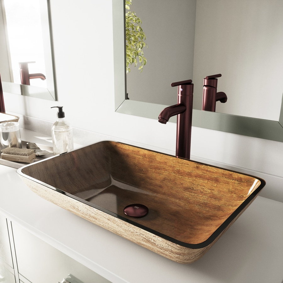 VIGO Amber Sunset Glass Vessel Bathroom Sink with Faucet (Drain Included)
