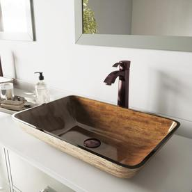 Vigo Glass Vessel Bathroom Sink With Faucet Drain Included