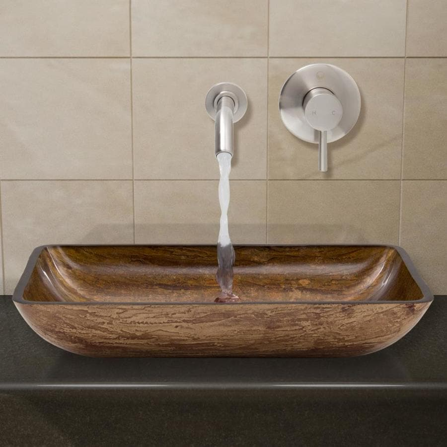 Brown Bathroom Sink : Bathroom Sets Brown and Amber Glass Vessel Rectangular Bathroom Sink ...