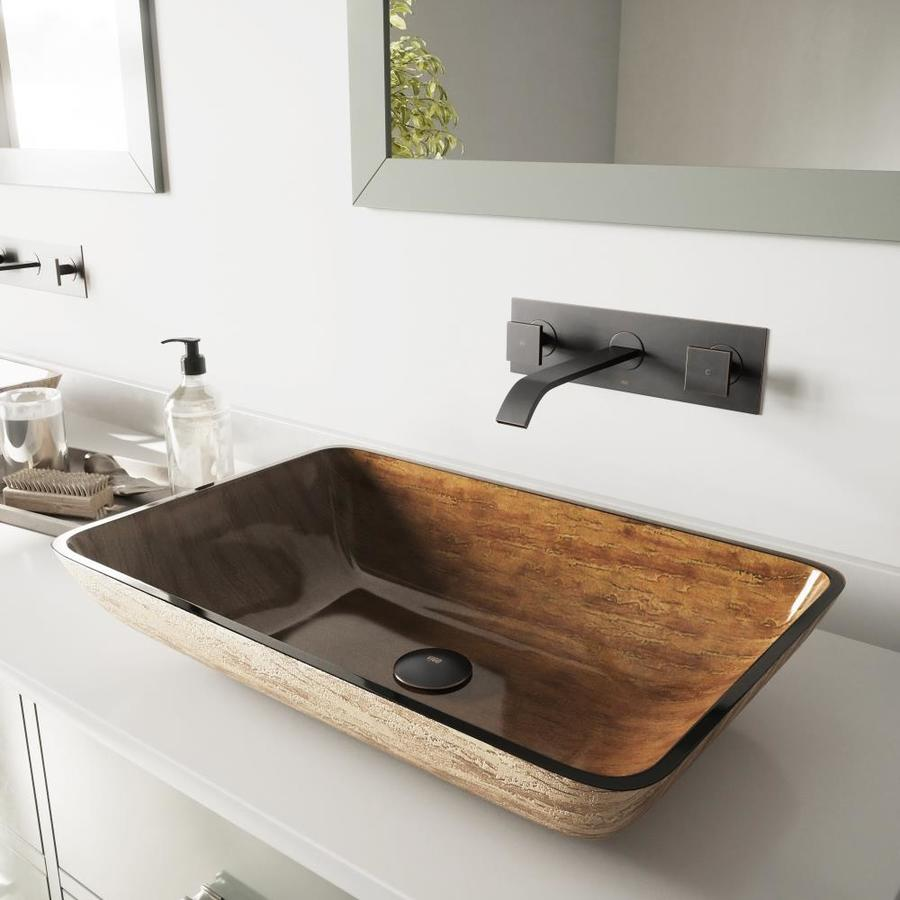 Vigo Vessel Bathroom Sets Brown And Amber Gl Rectangular Sink With Faucet Drain