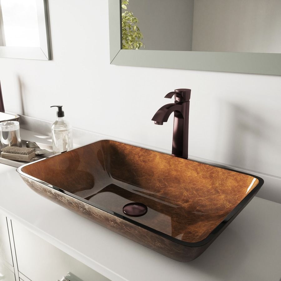 Shop Vigo Vessel Bathroom Sets Russet Glass Vessel Rectangular Bathroom Sink With Faucet Drain