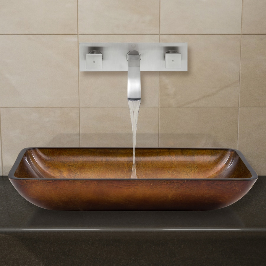 VIGO Vessel Bathroom Sets Brown and Amber Glass Vessel Rectangular Bathroom Sink with Faucet (Drain Included)