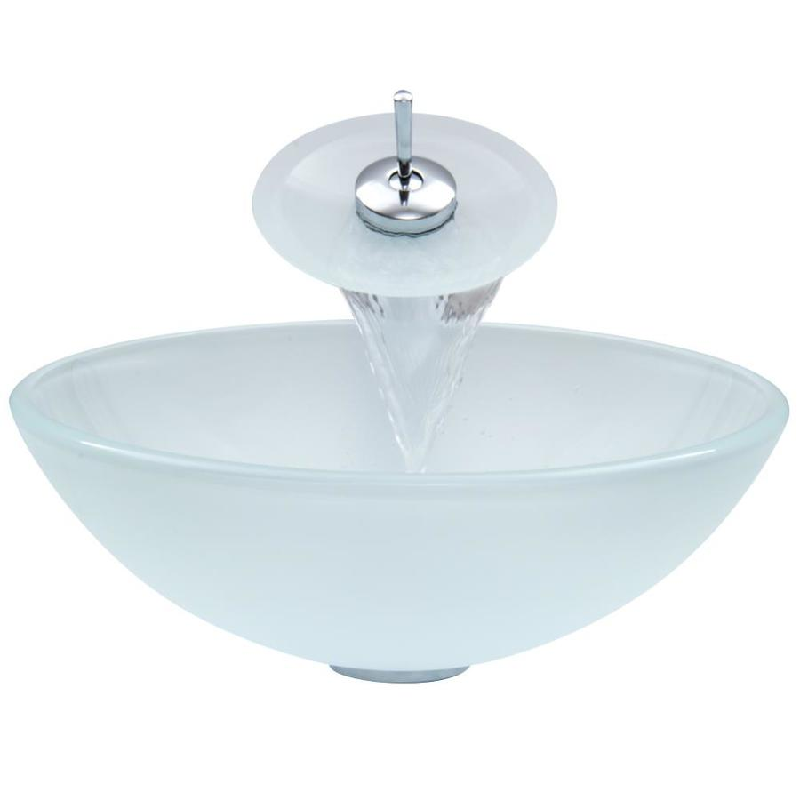 good Vigo Sinks And Faucets Part - 12: VIGO White Glass Vessel Bathroom Sink with Faucet (Drain Included)