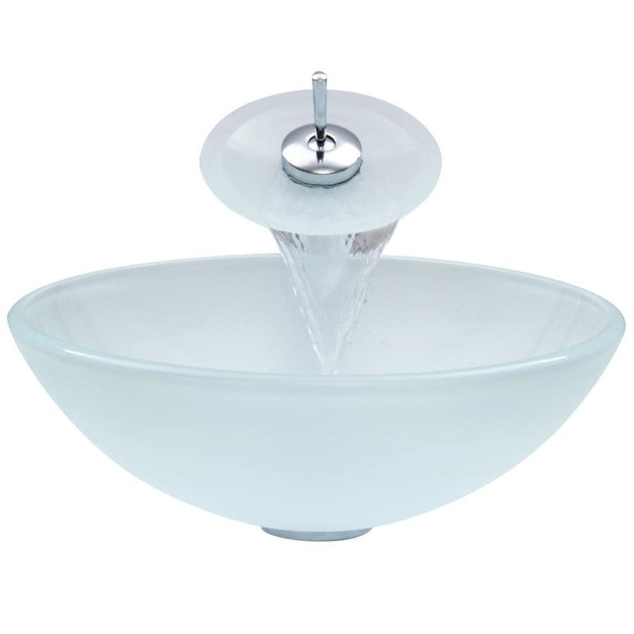 Shop VIGO White Glass Vessel Bathroom Sink with Faucet (Drain ...