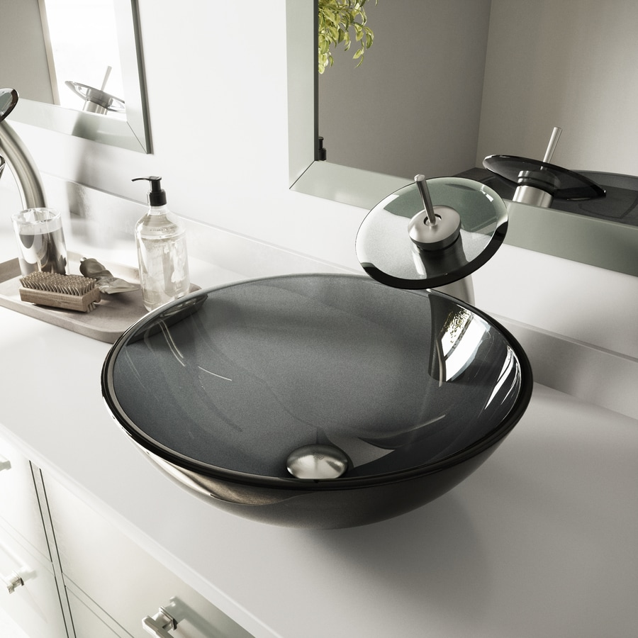 VIGO Vessel Bathroom Sets Black Tempered Glass Vessel Round Bathroom Sink  With Faucet (Drain Included