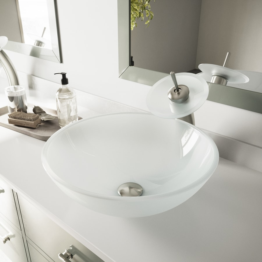 superb Vigo Sinks And Faucets Part - 3: VIGO Vessel Bathroom Sets White Tempered Glass Vessel Round Bathroom Sink  with Faucet (Drain Included
