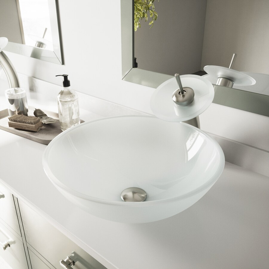 Vessel Bathroom Sets White Tempered Glass Vessel Round Bathroom Sink ...