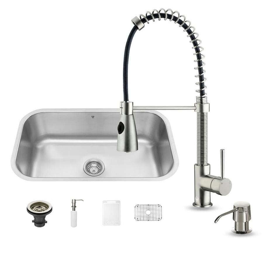 VIGO 30.0-in x 18.0-in Stainless Steel Single-Basin-Basin Stainless Steel Undermount (Customizable)-Hole Commercial/Residential Kitchen Sink All-In-One Kit