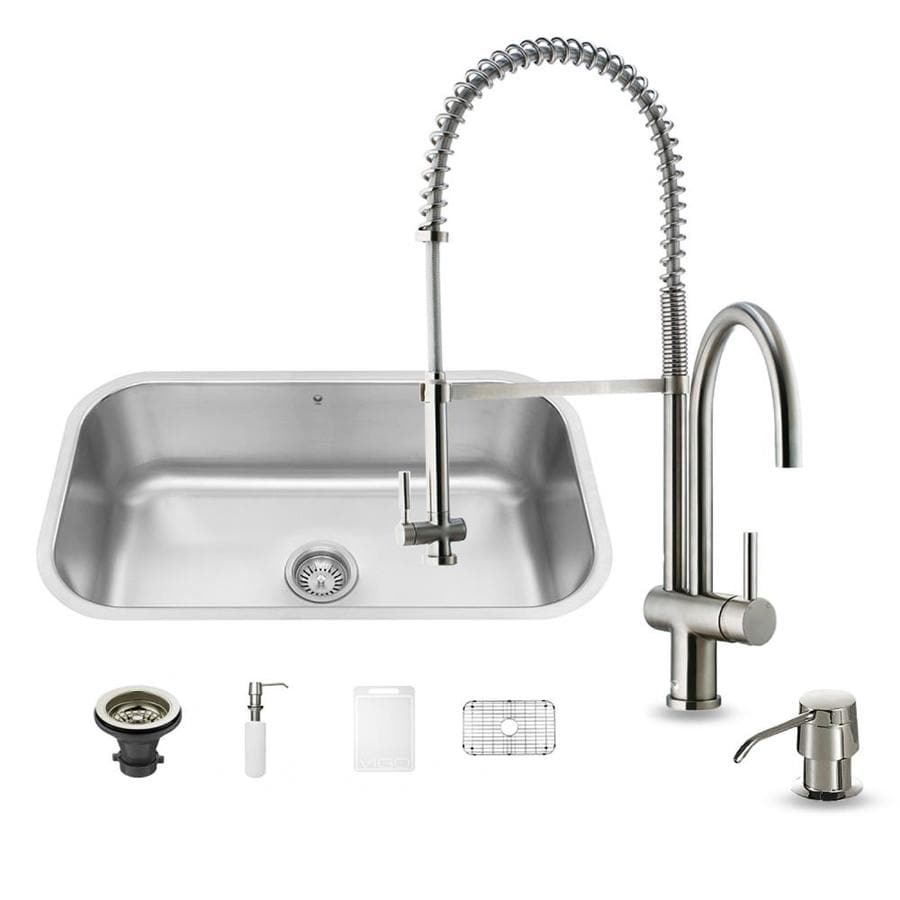 VIGO 30.0-in x 18.0-in Single-Basin Stainless Steel Undermount Commercial/Residential Kitchen Sink All-In-One Kit