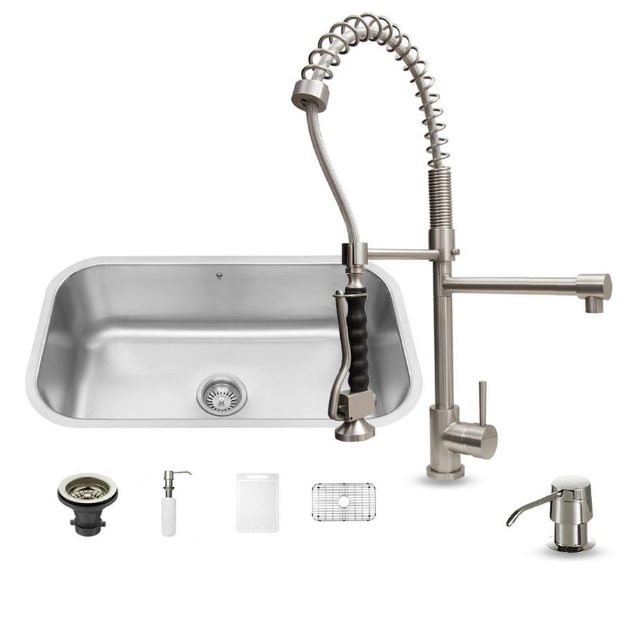 VIGO 30-in x 18-in Stainless Steel Single-Basin Undermount 1-Hole Commercial/Residential Kitchen Sink All-In-One Kit