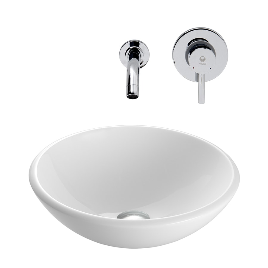 Shop Vigo Vessel Bathroom Sets White Glass Vessel Round Bathroom Sink With Faucet Drain