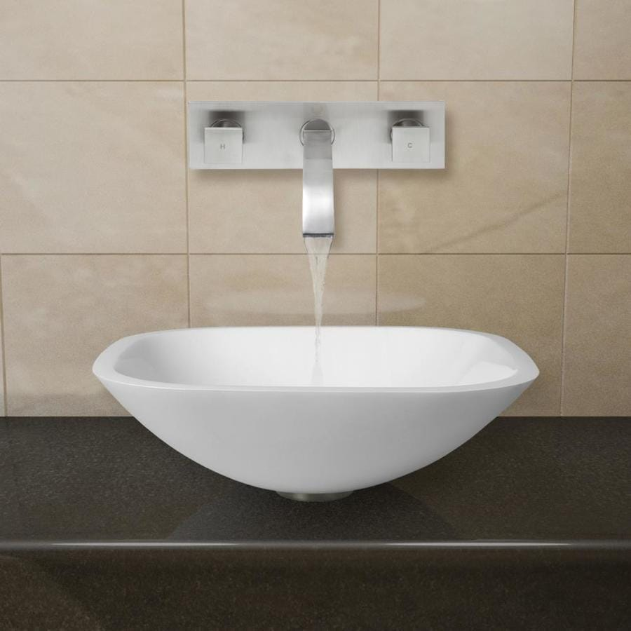 Shop Vigo Vessel Bathroom Sets White Glass Vessel Square Bathroom Sink With Faucet Drain