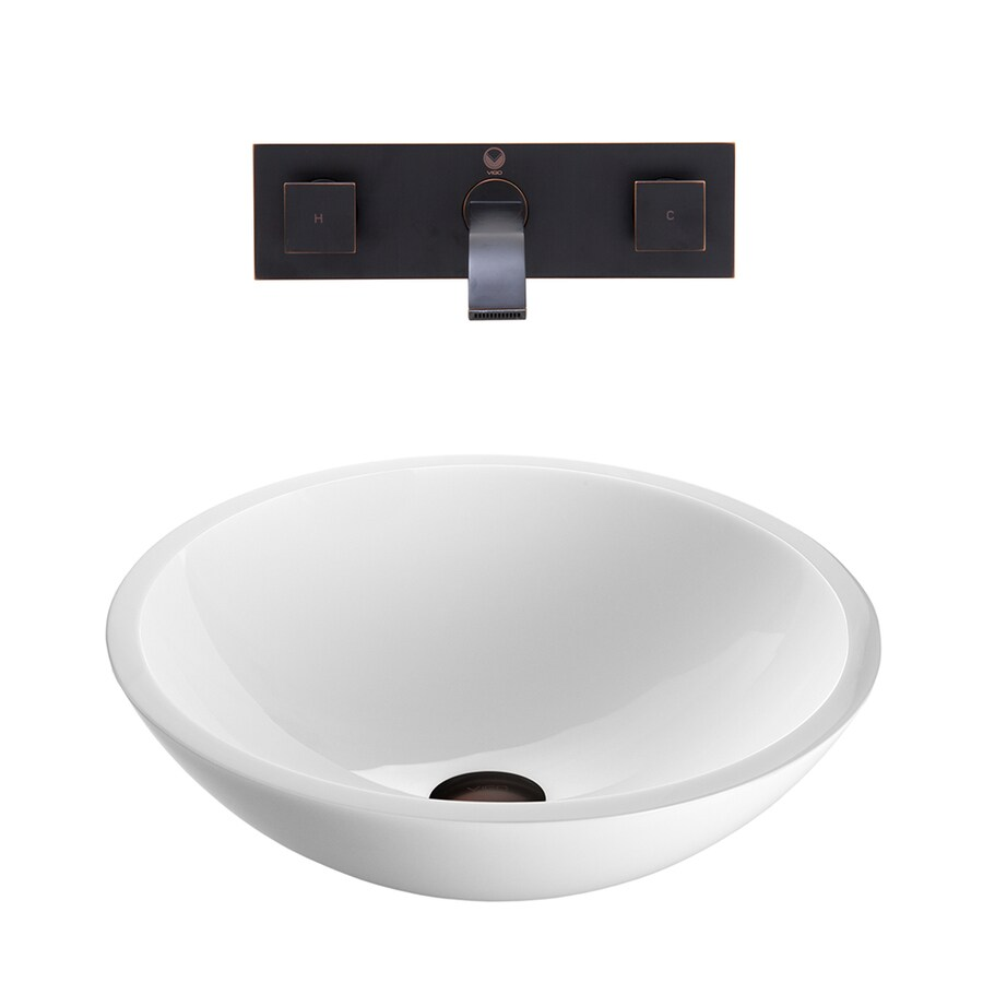 Vigo Vessel Bathroom Sets White Gl Round Sink With Faucet Drain Included