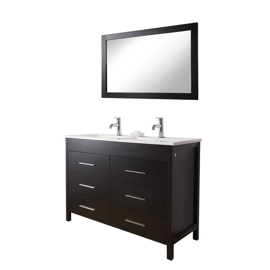 Vigo Maxine Double Sink Bathroom Vanities Espresso Black Matte Integral Vanity With Vitreous