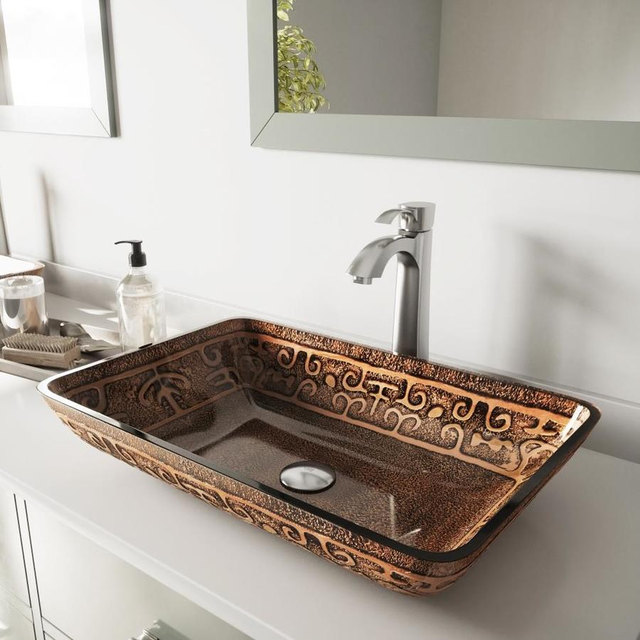 VIGO Brown and Gold and Brushed Nickel Glass Vessel Bathroom Sink with Faucet (Drain Included)