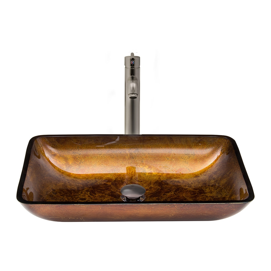 VIGO Brown and Brushed Nickel Glass Vessel Bathroom Sink with Faucet (Drain Included)