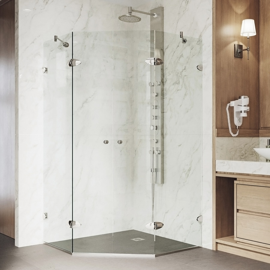 VIGO Gemini 40-in W x 73-3/8-in H Brushed Nickel Frameless Neo-Angle Shower Door