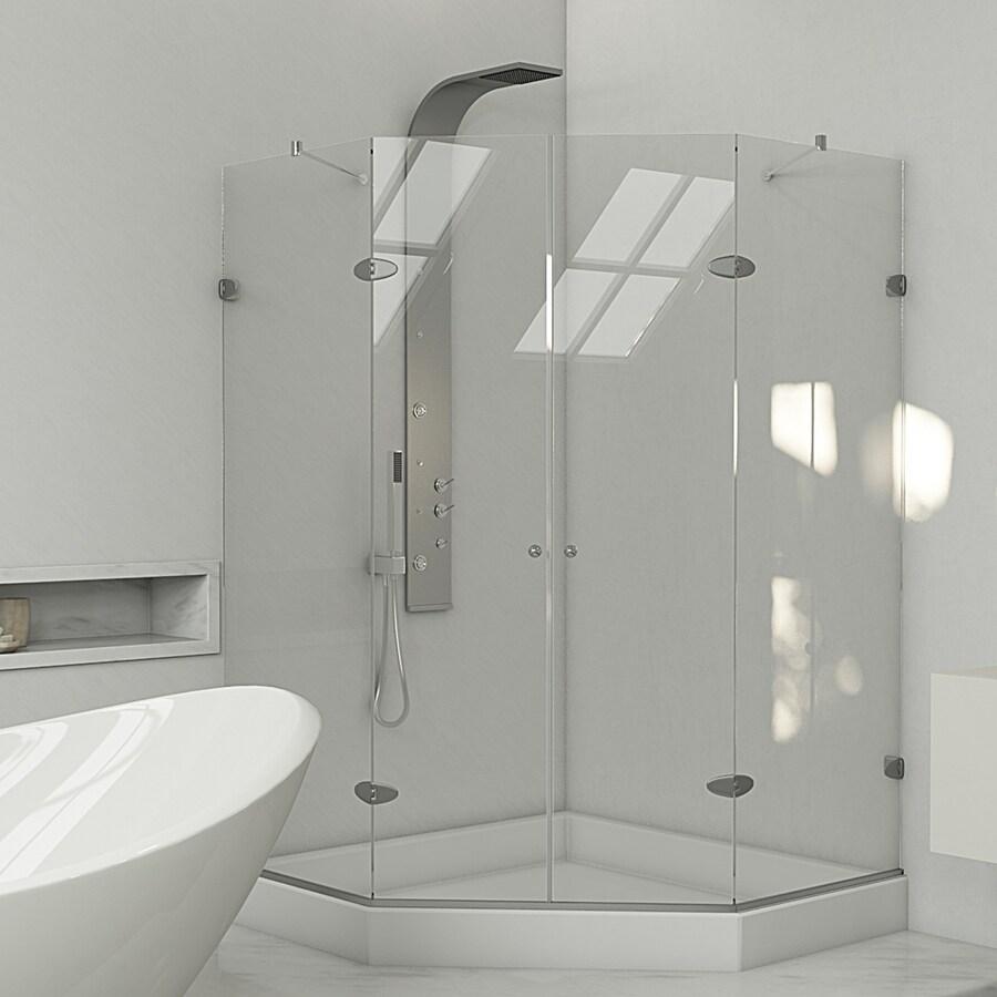VIGO Gemini Frameless Brushed Nickel Shower Door