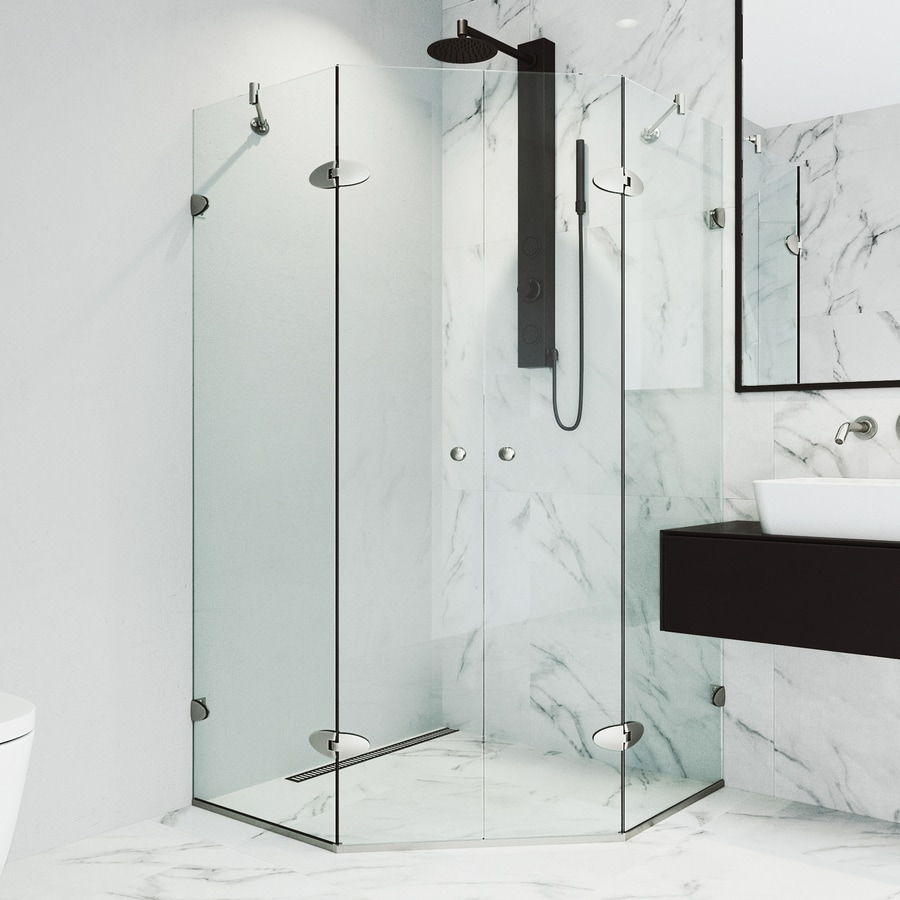 VIGO Vigo Neo-Angle Shower Enclosure 45.625-in W x 73-3/8-in H Brushed Nickel Frameless Neo-Angle Shower Door