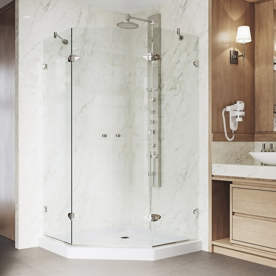 VIGO Neo-Angle Shower Enclosure 42.125-in W x 76-3/4-in H Brushed Nickel Frameless Neo-Angle Shower Door