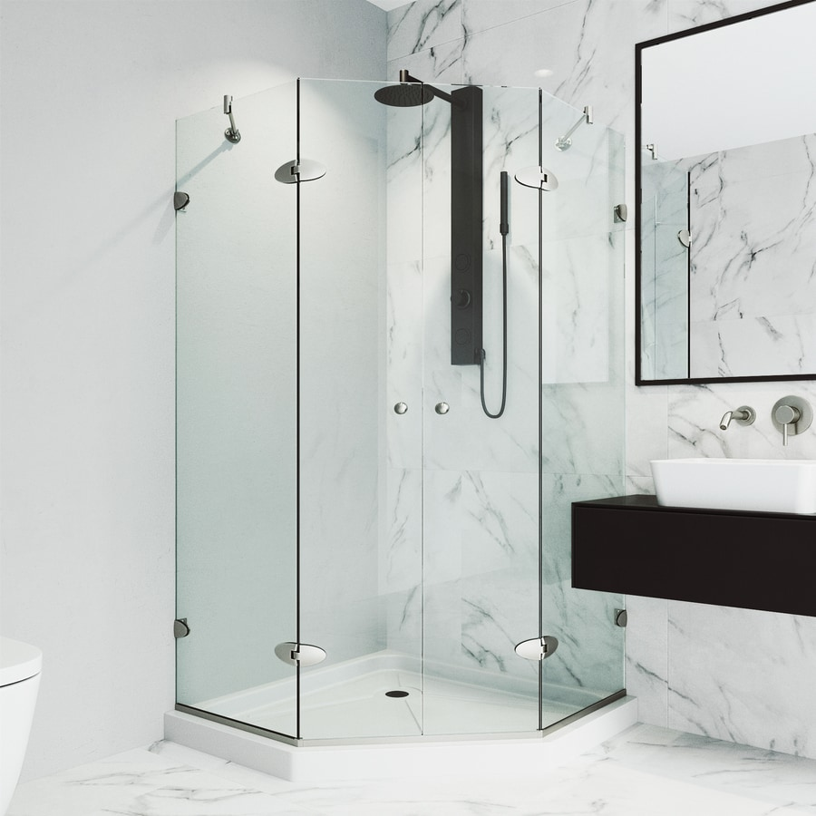 VIGO Vigo Neo-Angle Shower Enclosure 47.625-in W x 76-3/4-in H Brushed Nickel Frameless Neo-Angle Shower Door