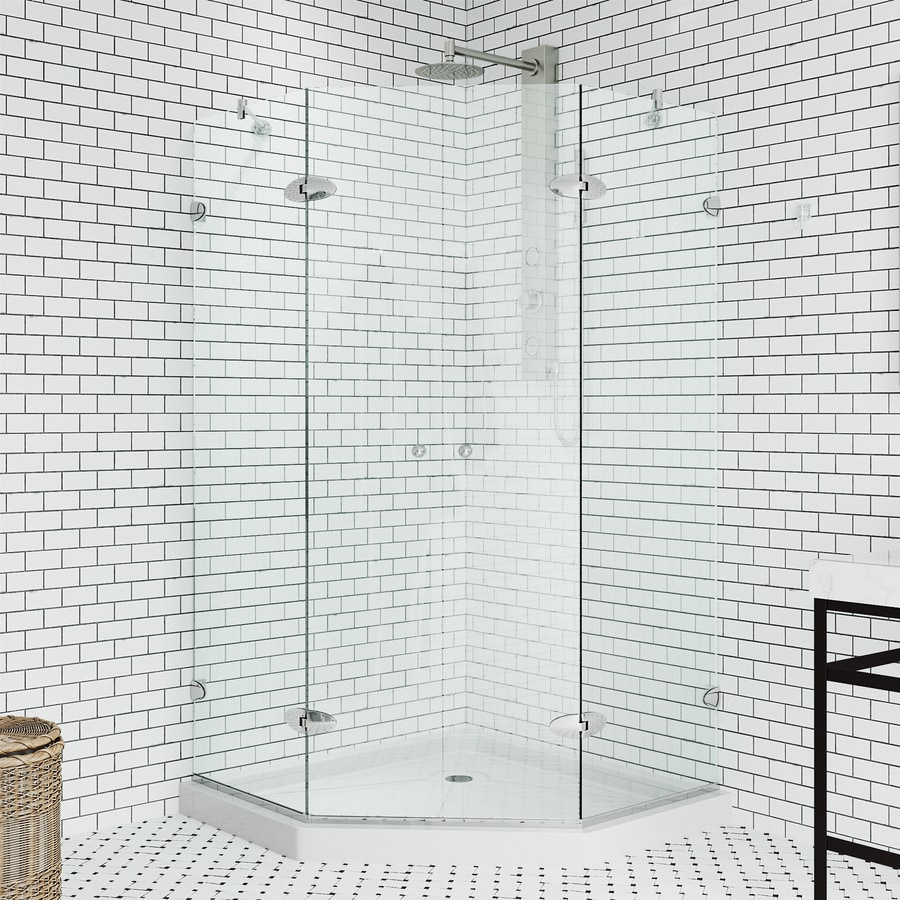 VIGO Vigo Neo-Angle Shower Enclosure 42.125-in W x 76-3/4-in H Polished Chrome Frameless Neo-Angle Shower Door