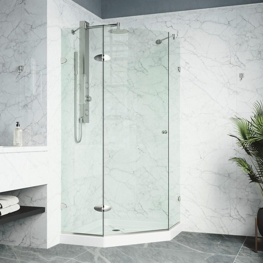 VIGO Vigo Neo-Angle Shower Enclosure 42.125-in W x 76-3/4-in H Brushed Nickel Frameless Neo-Angle Shower Door