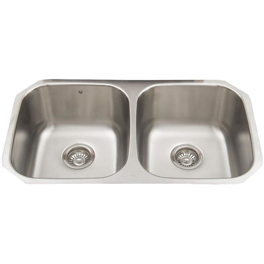VIGO 32.25-in x 18.5-in Double-Basin Stainless Steel Undermount Commercial/Residential Kitchen Sink