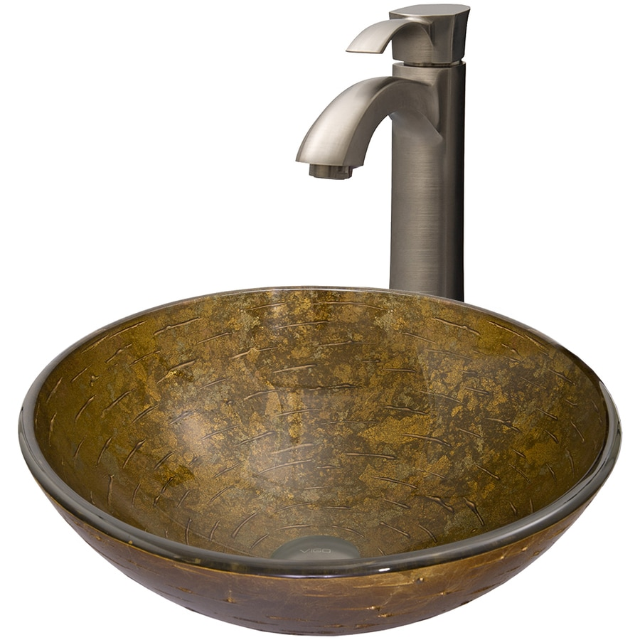 VIGO Glass Sink and Vessel Faucet Set Textured Copper Glass Vessel Bathroom Sink with Faucet (Drain Included)