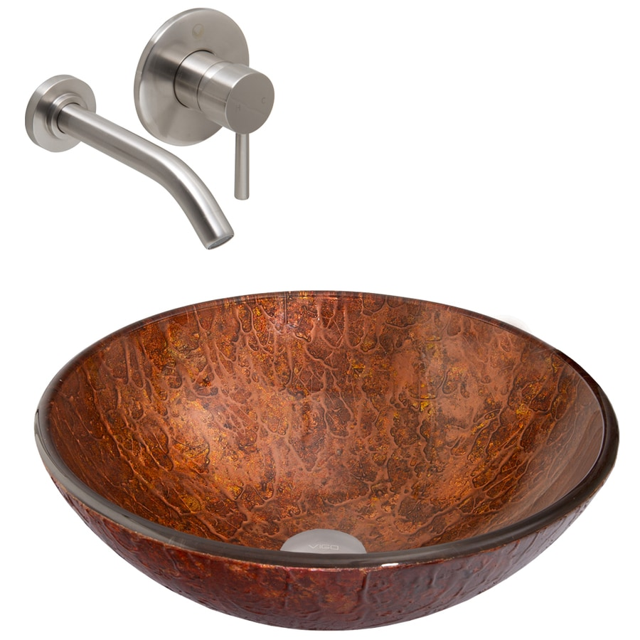 VIGO Glass Sink and Vessel Faucet Set Mahogany Moon Glass Vessel Bathroom Sink with Faucet (Drain Included)